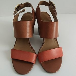FRANCO SARTO TAN/CORAL LEATHER SANDALS SIZE 6.5